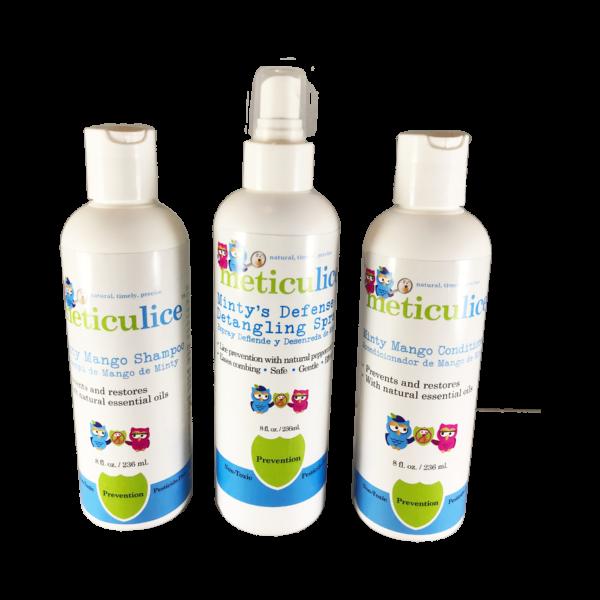 Head Lice Prevention Kit ~ Kit de Prevencin de Piojos Repel Head Lice Minty Mango Shampoo, Conditioner & Defense & Detangling Spray by METICULICE